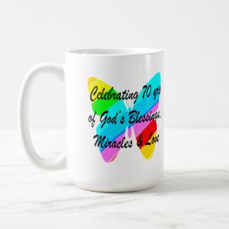 CELEBRATING 70TH BIRTHDAY BUTTERFLY DESIGN COFFEE MUG