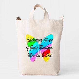 CELEBRATING 70TH BIRTHDAY BUTTERFLY DESIGN DUCK BAG