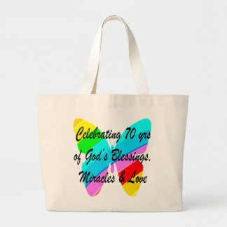 CELEBRATING 70TH BIRTHDAY BUTTERFLY DESIGN LARGE TOTE BAG