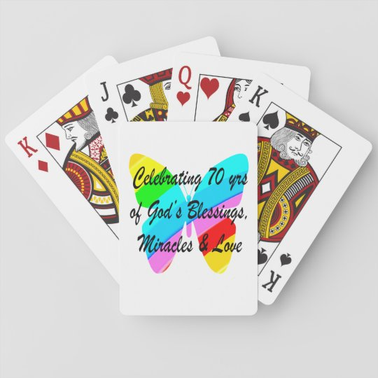 CELEBRATING 70TH BIRTHDAY BUTTERFLY DESIGN PLAYING CARDS