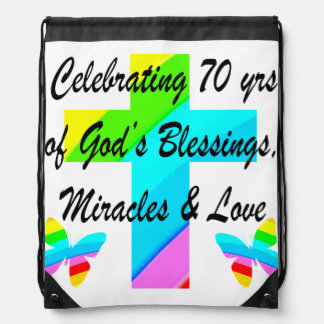 CELEBRATING 70TH BUTTERFLY AND CROSS DESIGN DRAWSTRING BAG