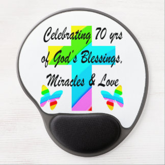 CELEBRATING 70TH BUTTERFLY AND CROSS DESIGN GEL MOUSE PAD
