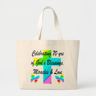 CELEBRATING 70TH BUTTERFLY AND CROSS DESIGN LARGE TOTE BAG