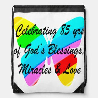 CELEBRATING 85 YRS OF GODS BLESSINGS AND LOVE DRAWSTRING BAG