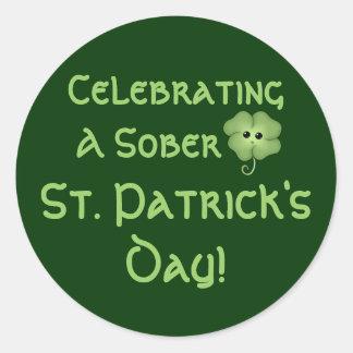 Celebrating A Sober St. Patrick's Day Classic Round Sticker