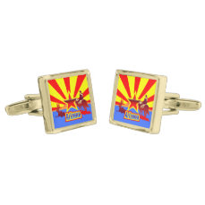 Celebrating Arizona with Red, Yellow, and Blue Cufflinks