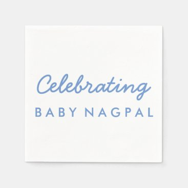 Toddler & Baby themed Celebrating Baby Blue and White Cocktail Napkin