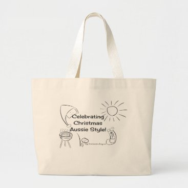Beach Themed Celebrating Christmas Aussie Style! beach black Large Tote Bag