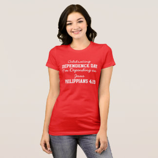 Celebrating Dependence Day women Red Bold T-Shirt