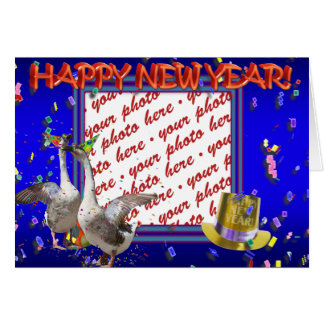 """Celebrating Geese """"Happy New Year' Photo Frame Greeting Cards"""