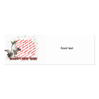 """Celebrating Geese """"Happy New Year' Photo Frame Double-Sided Mini Business Cards (Pack Of 20)"""