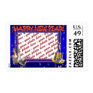 "Celebrating Geese ""Happy New Year' Photo Frame Postage"