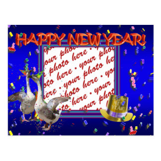 """Celebrating Geese """"Happy New Year' Photo Frame Postcard"""