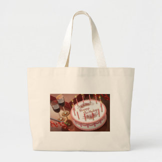 Celebrating Hundred Years with Cake and Wine Large Tote Bag