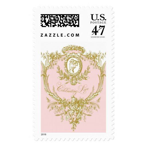 Celebrating Love Pink and Gold Wedding Postage