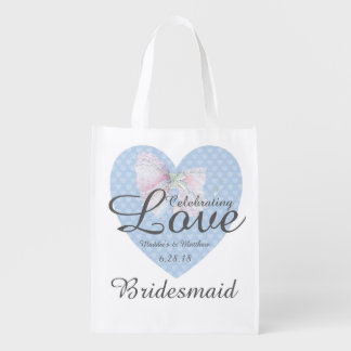 Celebrating Love Romantic Blue Heart Bridesmaid Grocery Bag