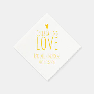 Celebrating Love | Yellow Wedding Paper Napkin
