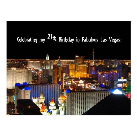 Celebrating my 21 th Birthday in Las Vegas Postard Postcard