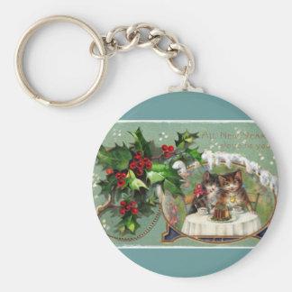 Celebrating New Year Kittens Basic Round Button Keychain