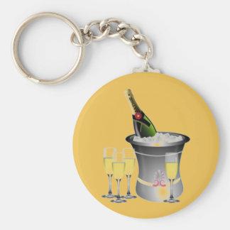 Celebrating New Years Basic Round Button Keychain