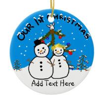 Celebrating our 1st Xmas Funny Snowman couple Ceramic Ornament