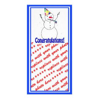 Celebrating Snowman 'CONGRATULATIONS'! Photo Cards