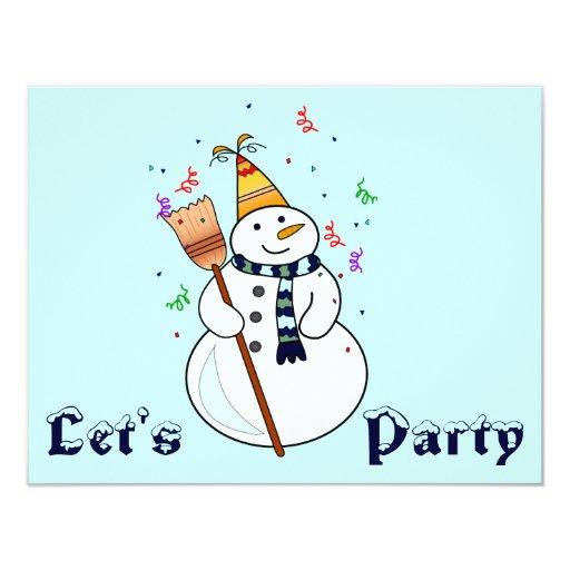 Celebrating Snowman Invitation- Blank Inside | Zazzle
