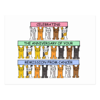 Celebrating the anniversary of cancer remission. postcard