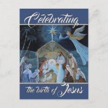 Celebrating the Birth of Jesus, Christmas Nativity Postcard
