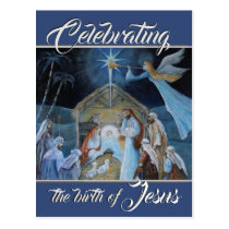 Celebrating the Birth of Jesus, Christmas Nativity Postcard