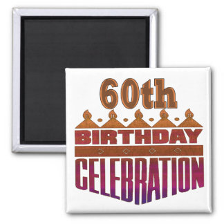Celebration 60th Birthday Gifts 2 Inch Square Magnet