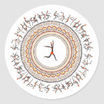 Celebration/African Folk Dance Motif Design Round Stickers