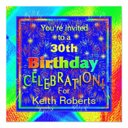 Celebration Birthday Invitations Fireworks
