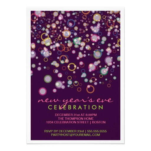 Celebration Bubbles New Year's Eve Party Personalized Invitations