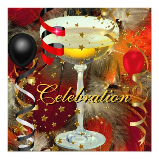 Celebration Champagne Party Black Red Personalized Announcement