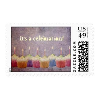 Celebration Cupcakes - Lit Candles - Postage Stamp