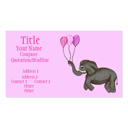 Celebration Elephant (Pink) Business Card