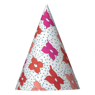 Celebration Flowers and Polka Dots Party Hat