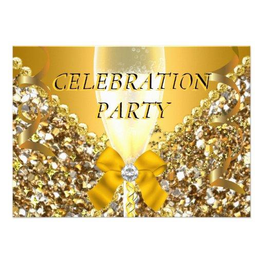 CELEBRATION Glitter Gold Silver Champagne Party Custom Invitations
