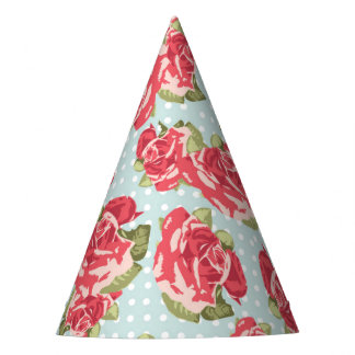 Celebration in Shabby Chic Cabbage Roses Flowers Party Hat
