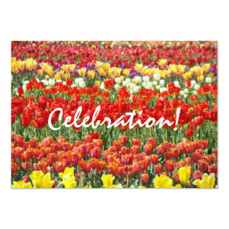 Celebration! Invitaions End of Year Party Tulips 5x7 Paper Invitation Card