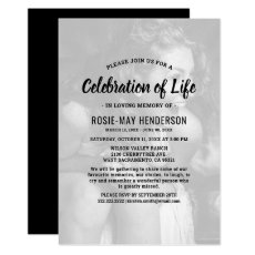Celebration of Life | Black Funeral Memorial Photo Invitation