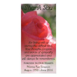 Celebration of Life Card, Coral Rose Memorial Card
