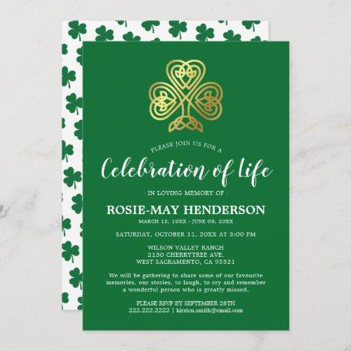 Celebration of Life  Celtic Shamrock Funeral Invitation