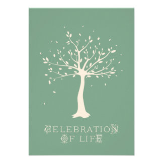 Celebration of Life - Custom - Elegant Tree Motif Custom Announcements