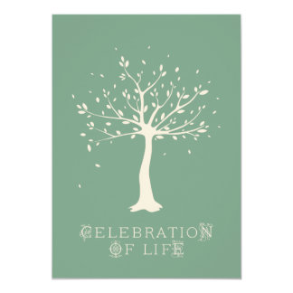 "Celebration of Life - Custom - Elegant Tree Motif 5"" X 7"" Invitation Card"