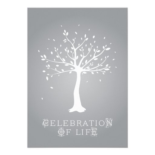 Celebration of Life - Custom - Elegant Tree Motif Personalized Announcements