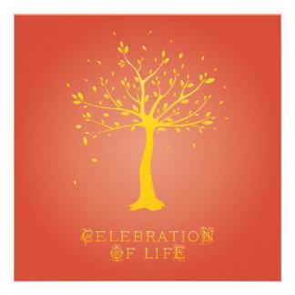 Celebration of Life - Custom - Elegant Tree Motif Custom Announcement