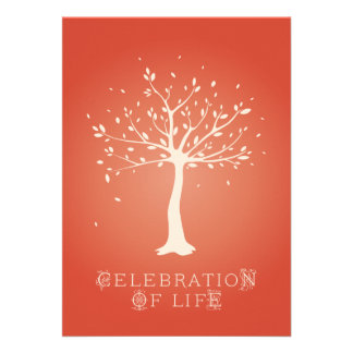 Celebration of Life - Custom - Elegant Tree Motif Announcement