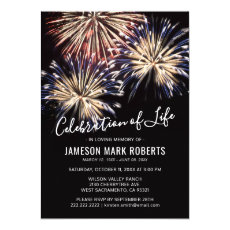 Celebration of Life   Firework Memorial Invitation